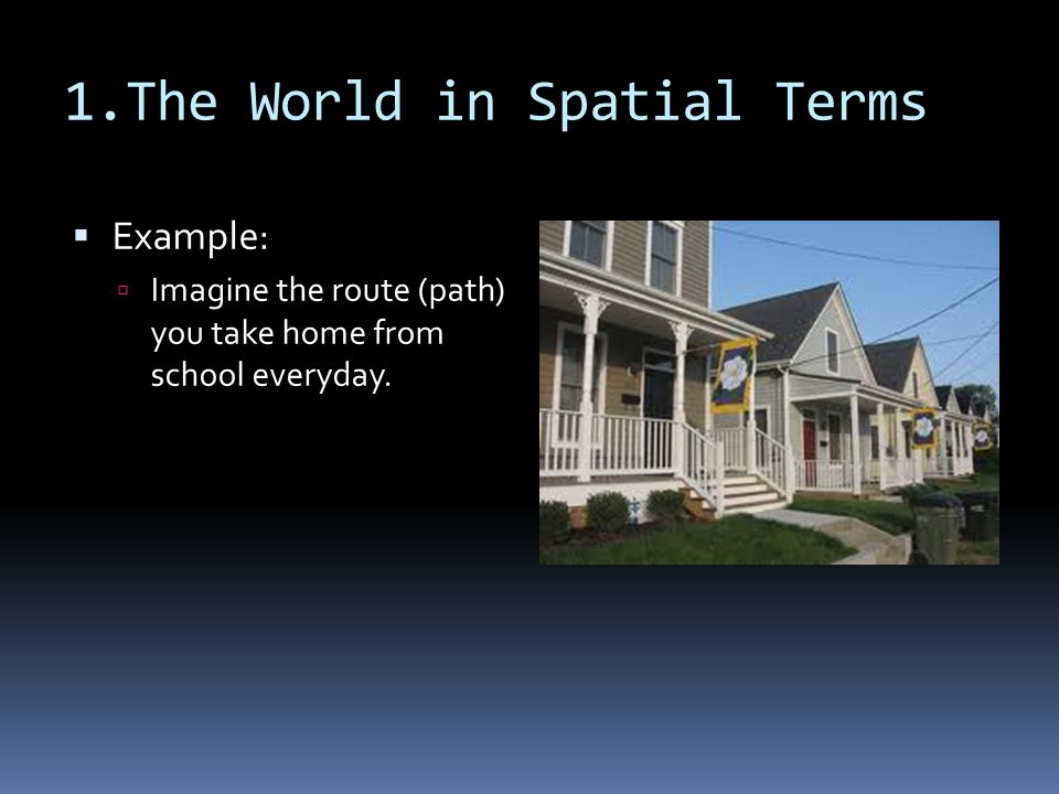 1.The World in Spatial Terms  Example:  Imagine the route (path) you take home from school everyday.