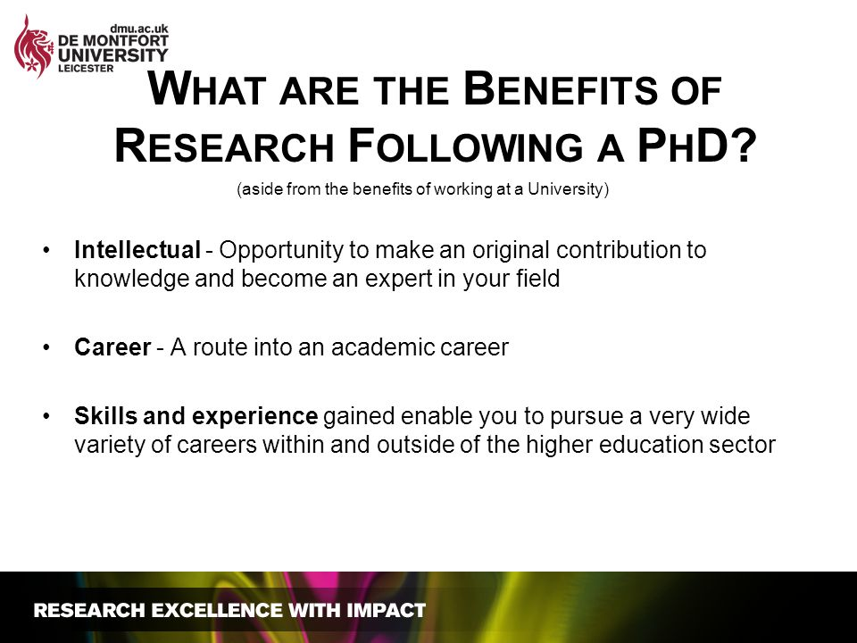 (aside from the benefits of working at a University) Intellectual - Opportunity to make an original contribution to knowledge and become an expert in
