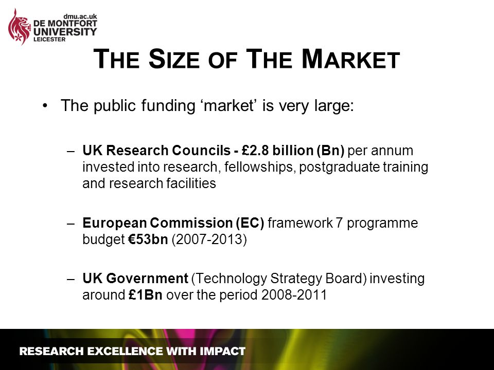 T HE S IZE OF T HE M ARKET The public funding 'market' is very large: –UK Research Councils - £2.8 billion (Bn) per annum invested into research, fell