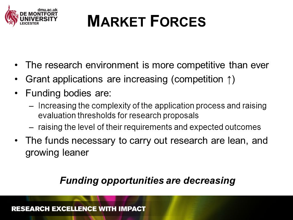 The research environment is more competitive than ever Grant applications are increasing (competition ↑) Funding bodies are: –Increasing the complexit