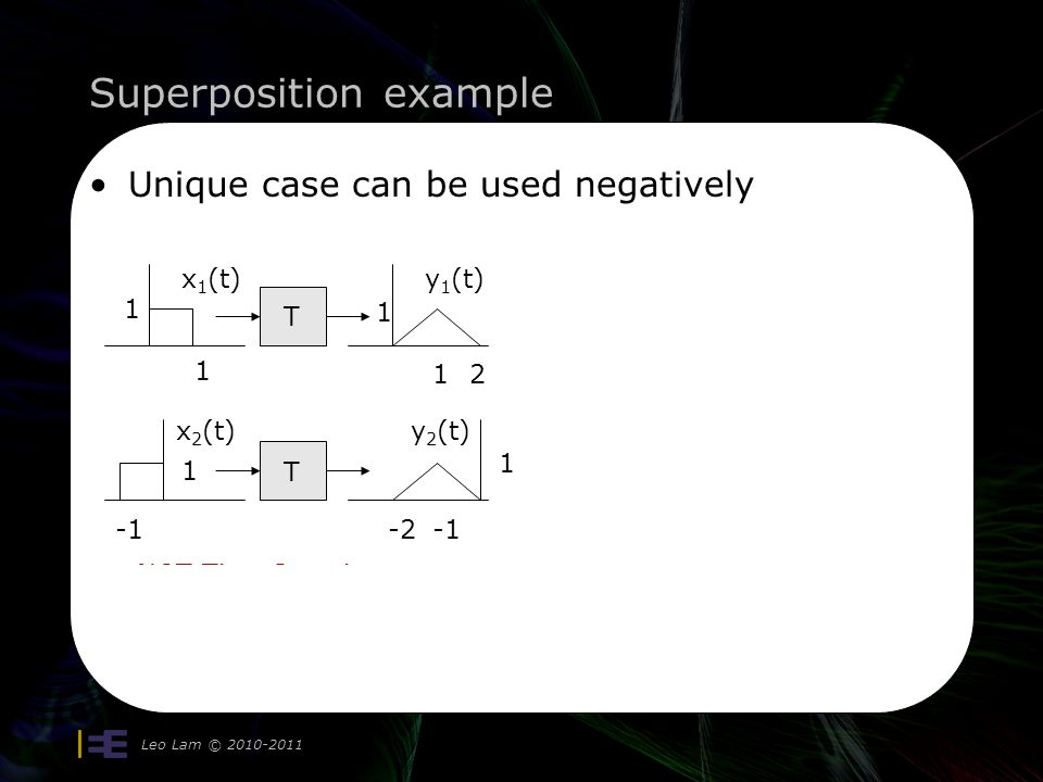 Superposition example Leo Lam © 2010-2011 Slightly aside (same system) Is it time-invariant.