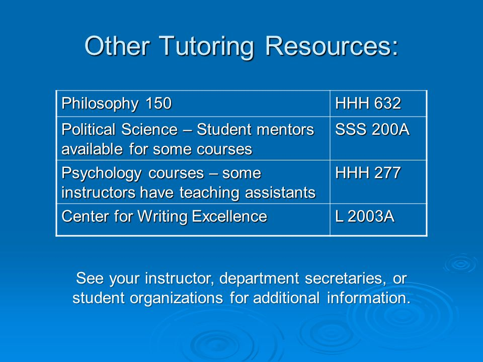 Other Tutoring Resources: Philosophy 150 HHH 632 Political Science – Student mentors available for some courses SSS 200A Psychology courses – some instructors have teaching assistants HHH 277 Center for Writing Excellence L 2003A See your instructor, department secretaries, or student organizations for additional information.