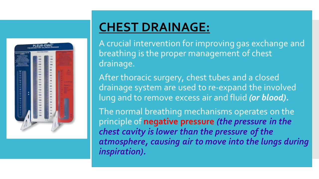  CHEST DRAINAGE:  A crucial intervention for improving gas exchange and breathing is the proper management of chest drainage.  After thoracic surge