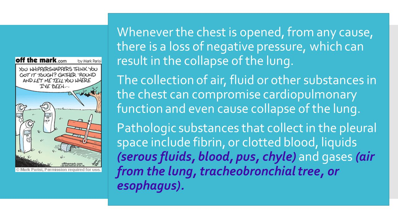  Whenever the chest is opened, from any cause, there is a loss of negative pressure, which can result in the collapse of the lung.  The collection o