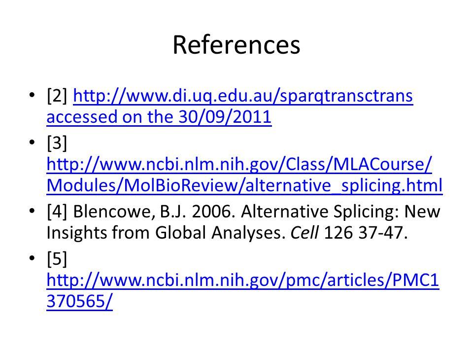 References [2] http://www.di.uq.edu.au/sparqtransctrans accessed on the 30/09/2011http://www.di.uq.edu.au/sparqtransctrans accessed on the 30/09/2011 [3] http://www.ncbi.nlm.nih.gov/Class/MLACourse/ Modules/MolBioReview/alternative_splicing.html http://www.ncbi.nlm.nih.gov/Class/MLACourse/ Modules/MolBioReview/alternative_splicing.html [4] Blencowe, B.J.