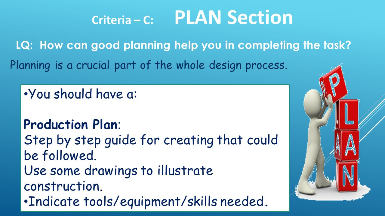 Criteria – C: PLAN Section Planning is a crucial part of the whole design process.