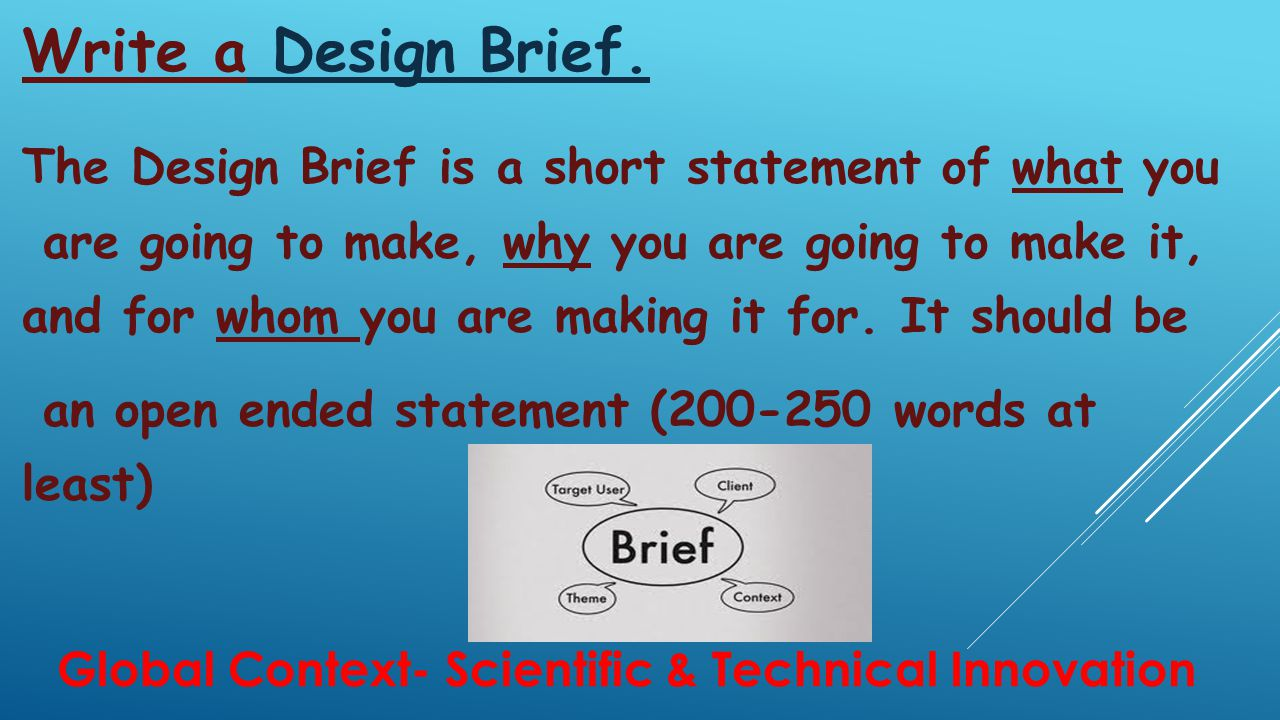 DESIGN SPECIFICATION The Design Specification is the most crucial element of the Investigate phase of the Design Cycle.