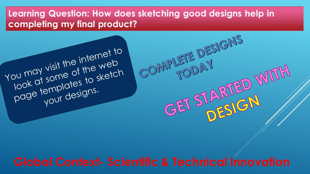 Learning Question: How does sketching good designs help in completing my final product.