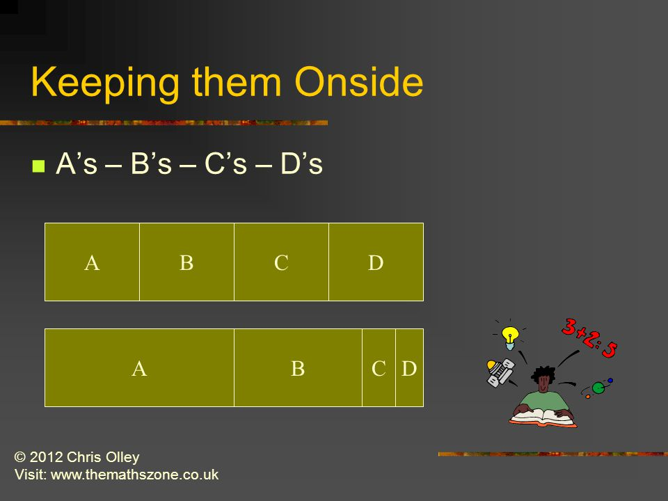 © 2012 Chris Olley Visit: www.themathszone.co.uk Keeping them Onside A's – B's – C's – D's ABCD ABCD