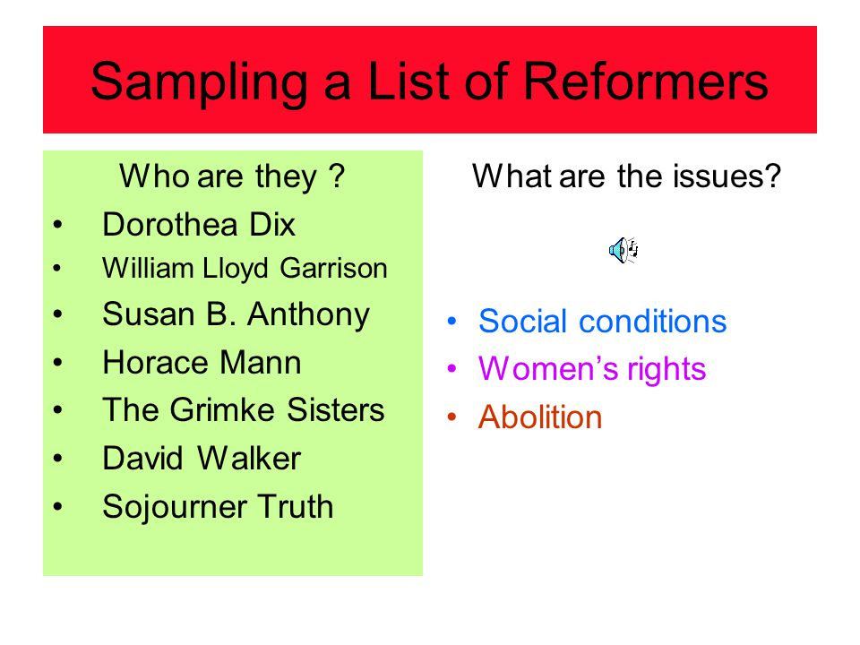 Sampling a List of Reformers Who are they ? Dorothea Dix William Lloyd Garrison Susan B. Anthony Horace Mann The Grimke Sisters David Walker Sojourner