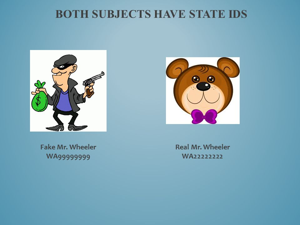 BOTH SUBJECTS HAVE STATE IDS Fake Mr. Wheeler WA99999999 Real Mr. Wheeler WA22222222