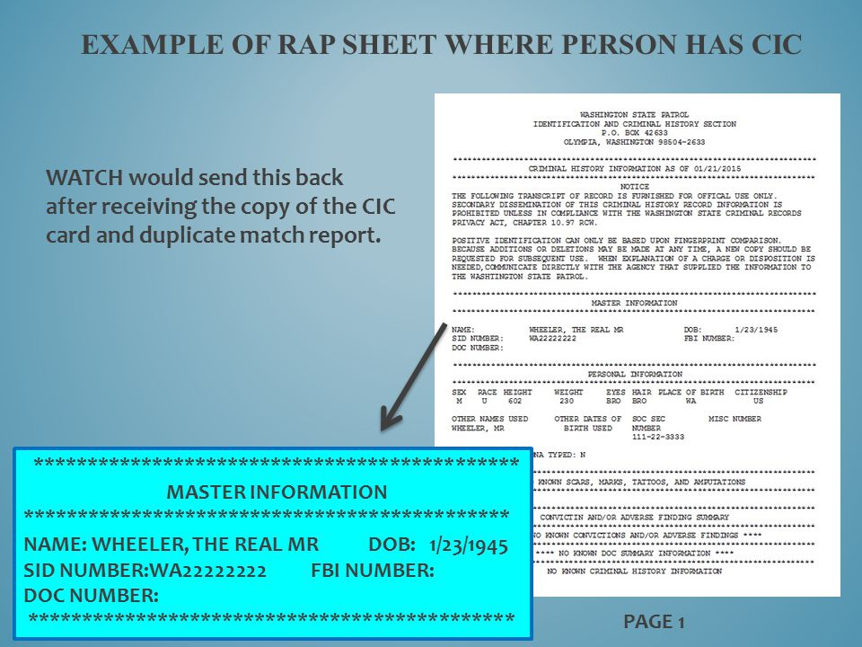 EXAMPLE OF RAP SHEET WHERE PERSON HAS CIC PAGE 1 ********************************************* MASTER INFORMATION ************************************