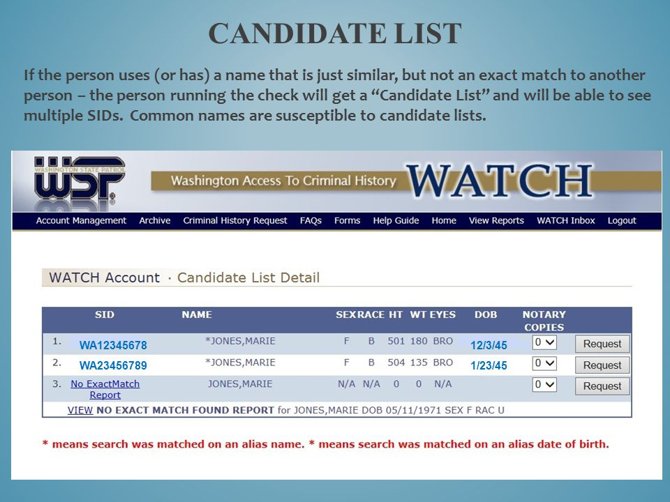 CANDIDATE LIST If the person uses (or has) a name that is just similar, but not an exact match to another person – the person running the check will g
