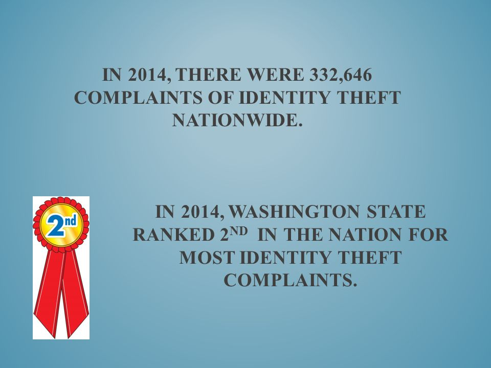 IN 2014, THERE WERE 332,646 COMPLAINTS OF IDENTITY THEFT NATIONWIDE. IN 2014, WASHINGTON STATE RANKED 2 ND IN THE NATION FOR MOST IDENTITY THEFT COMPL