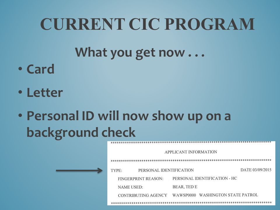 CURRENT CIC PROGRAM What you get now... Card Letter Personal ID will now show up on a background check