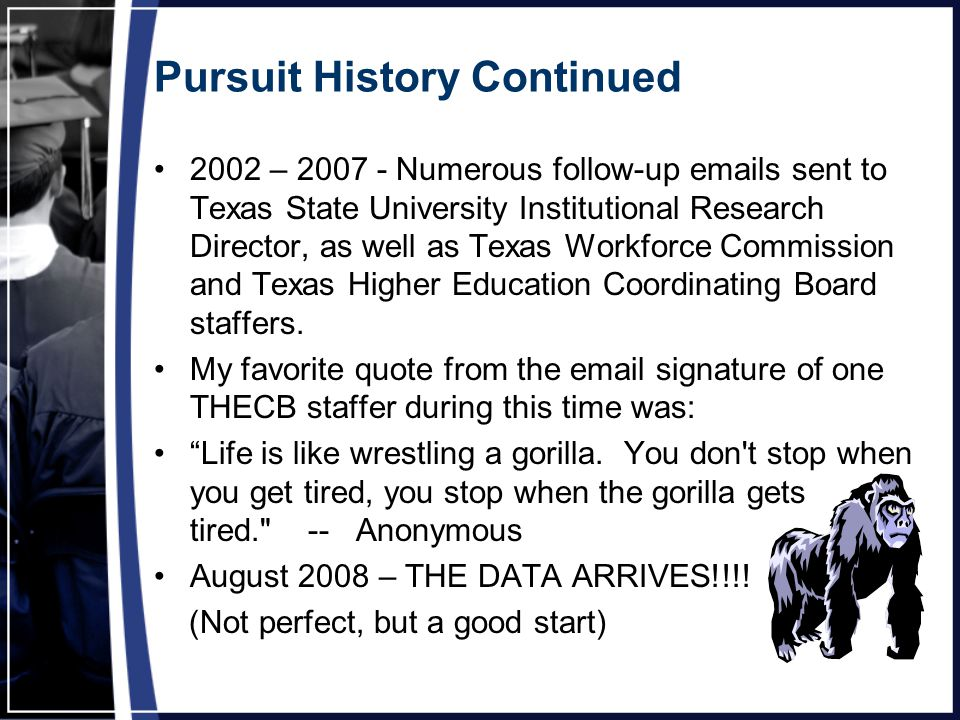 Pursuit History Continued 2002 – 2007 - Numerous follow-up emails sent to Texas State University Institutional Research Director, as well as Texas Workforce Commission and Texas Higher Education Coordinating Board staffers.