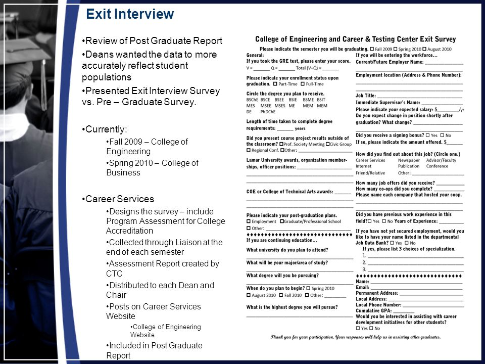 Exit Interview Review of Post Graduate Report Deans wanted the data to more accurately reflect student populations Presented Exit Interview Survey vs.