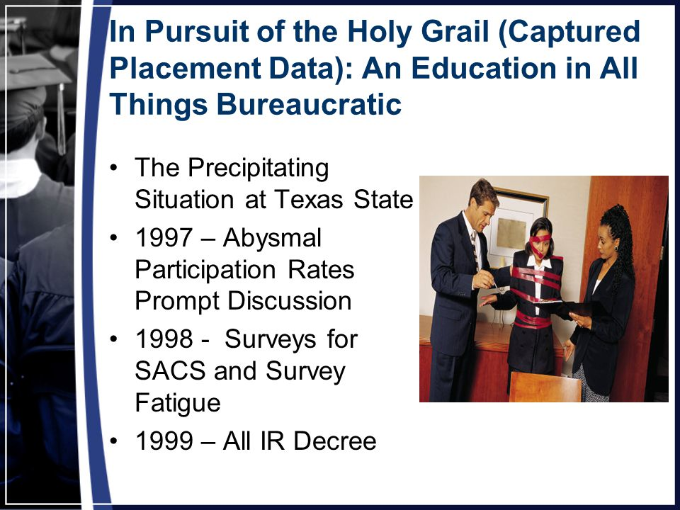 In Pursuit of the Holy Grail (Captured Placement Data): An Education in All Things Bureaucratic The Precipitating Situation at Texas State 1997 – Abysmal Participation Rates Prompt Discussion 1998 - Surveys for SACS and Survey Fatigue 1999 – All IR Decree