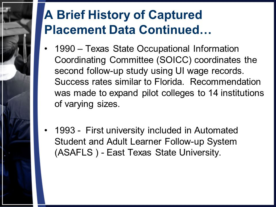 A Brief History of Captured Placement Data Continued… 1990 – Texas State Occupational Information Coordinating Committee (SOICC) coordinates the second follow-up study using UI wage records.