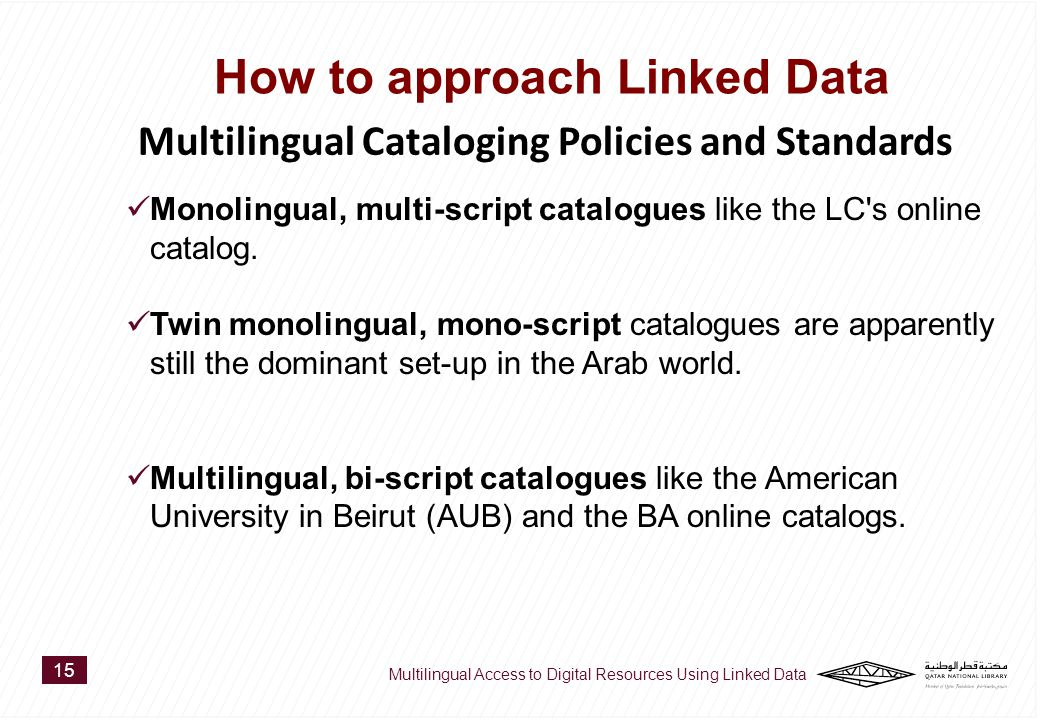 Monolingual, multi-script catalogues like the LC s online catalog.