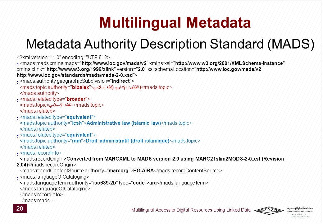 - القانون الإداري (فقه إسلامي) - الفقه الإسلامي - Administrative law (Islamic law) - Droit administratif (droit islamique) - Converted from MARCXML to MADS version 2.0 using MARC21slim2MODS-2-0.xsl (Revision 2.04) EG-AlBA - ara 20 Multilingual Access to Digital Resources Using Linked Data Multilingual Metadata Metadata Authority Description Standard (MADS)