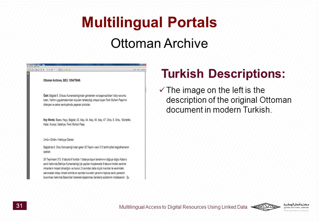 The image on the left is the description of the original Ottoman document in modern Turkish.