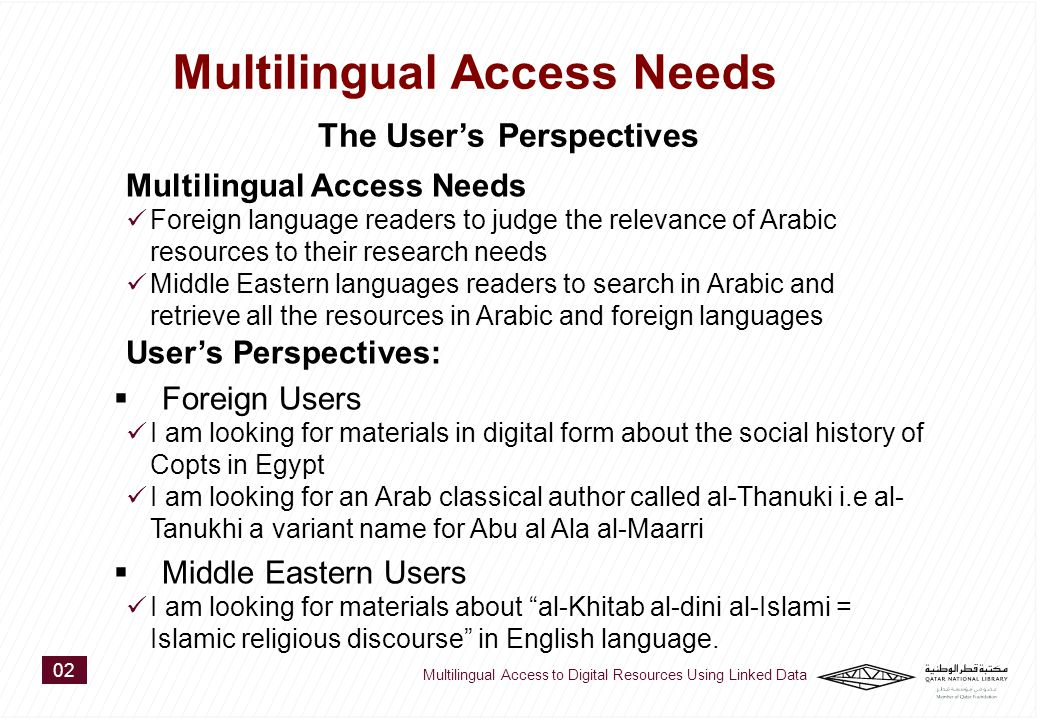 Multilingual Access Needs Foreign language readers to judge the relevance of Arabic resources to their research needs Middle Eastern languages readers to search in Arabic and retrieve all the resources in Arabic and foreign languages User's Perspectives:  Foreign Users I am looking for materials in digital form about the social history of Copts in Egypt I am looking for an Arab classical author called al-Thanuki i.e al- Tanukhi a variant name for Abu al Ala al-Maarri  Middle Eastern Users I am looking for materials about al-Khitab al-dini al-Islami = Islamic religious discourse in English language.