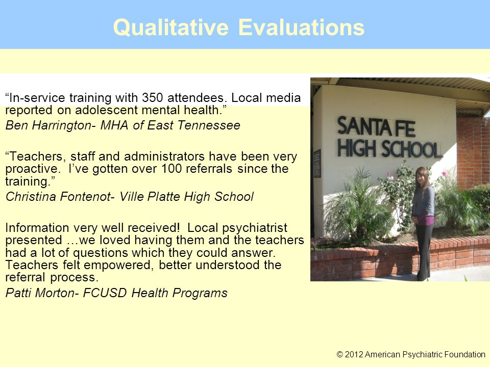 """Qualitative Evaluations 2013: Typical or Troubled? TM © 2012 American Psychiatric Foundation """"Large training, part of an all-day, in-service training"""