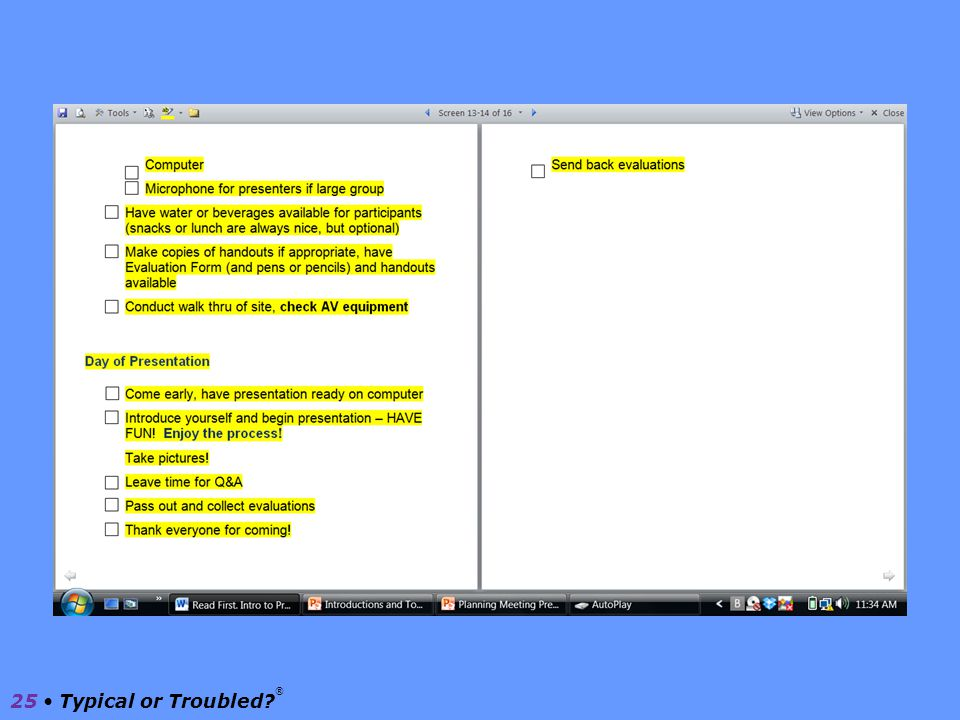Checklist 24 Typical or Troubled? ®