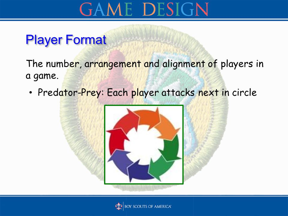 Player Format The number, arrangement and alignment of players in a game. Predator-Prey: Each player attacks next in circle