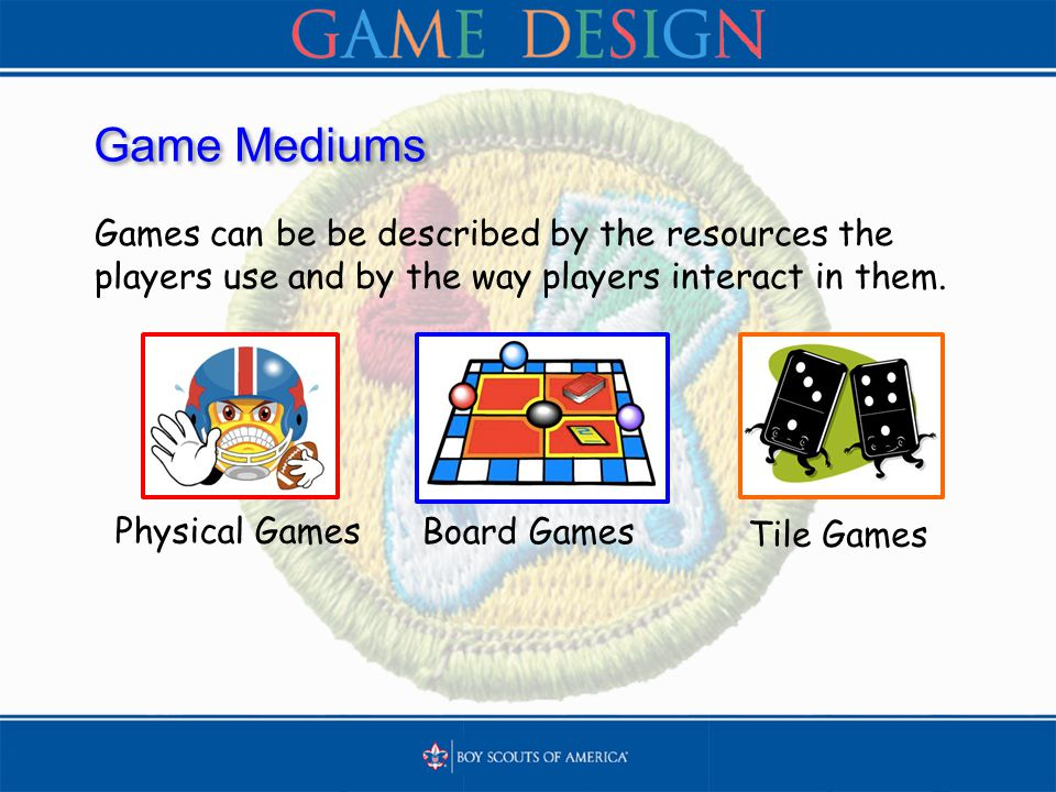 Game Mediums Games can be be described by the resources the players use and by the way players interact in them. Tile Games Board Games Physical Games