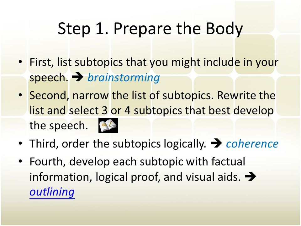 Step 1.Prepare the Body First, list subtopics that you might include in your speech.