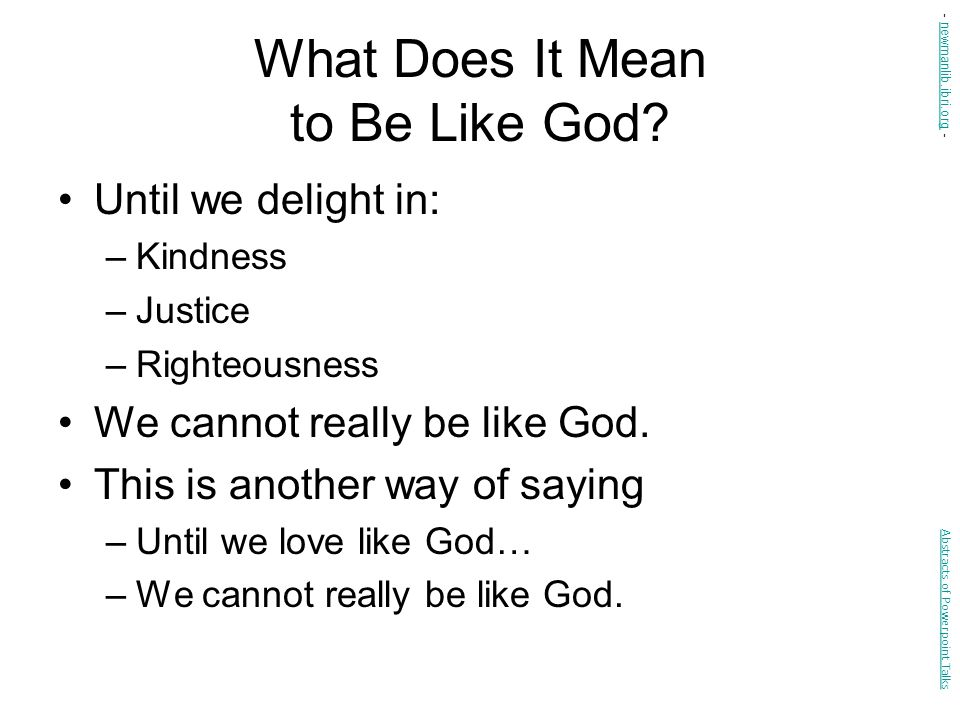 What Does It Mean to Be Like God.
