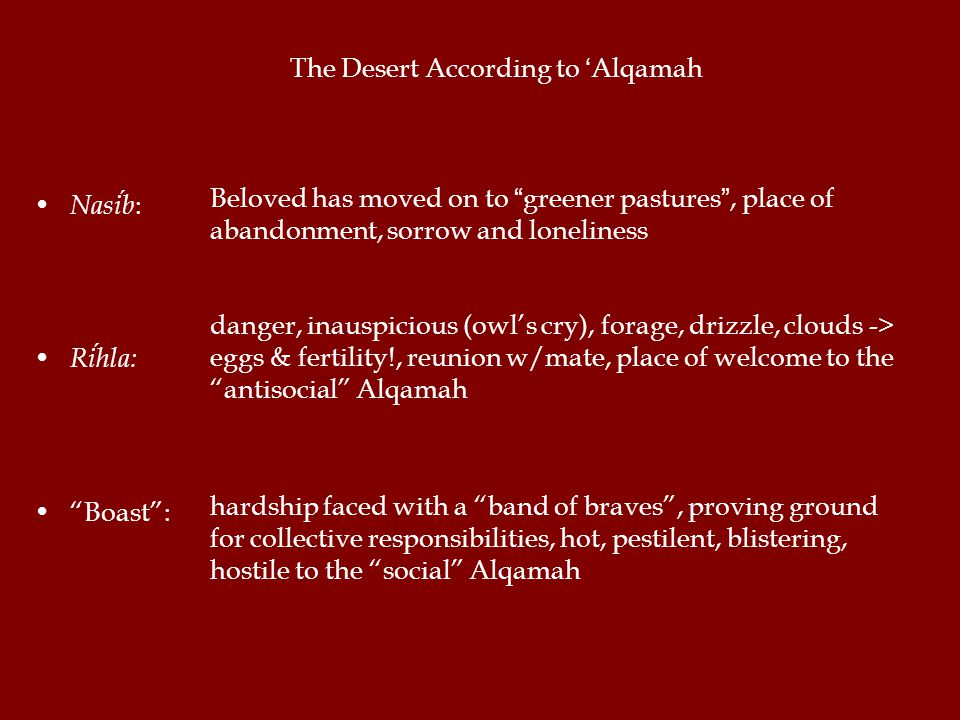 The Desert According to 'Alqamah Nasib : Rihla: Boast : danger, inauspicious (owl's cry), forage, drizzle, clouds -> eggs & fertility!, reunion w/mate, place of welcome to the antisocial Alqamah hardship faced with a band of braves , proving ground for collective responsibilities, hot, pestilent, blistering, hostile to the social Alqamah Beloved has moved on to greener pastures , place of abandonment, sorrow and loneliness