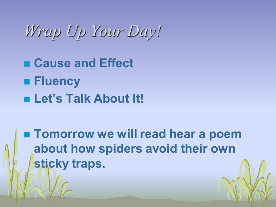 Wrap Up Your Day! n Cause and Effect n Fluency n Let's Talk About It! n Tomorrow we will read hear a poem about how spiders avoid their own sticky tra