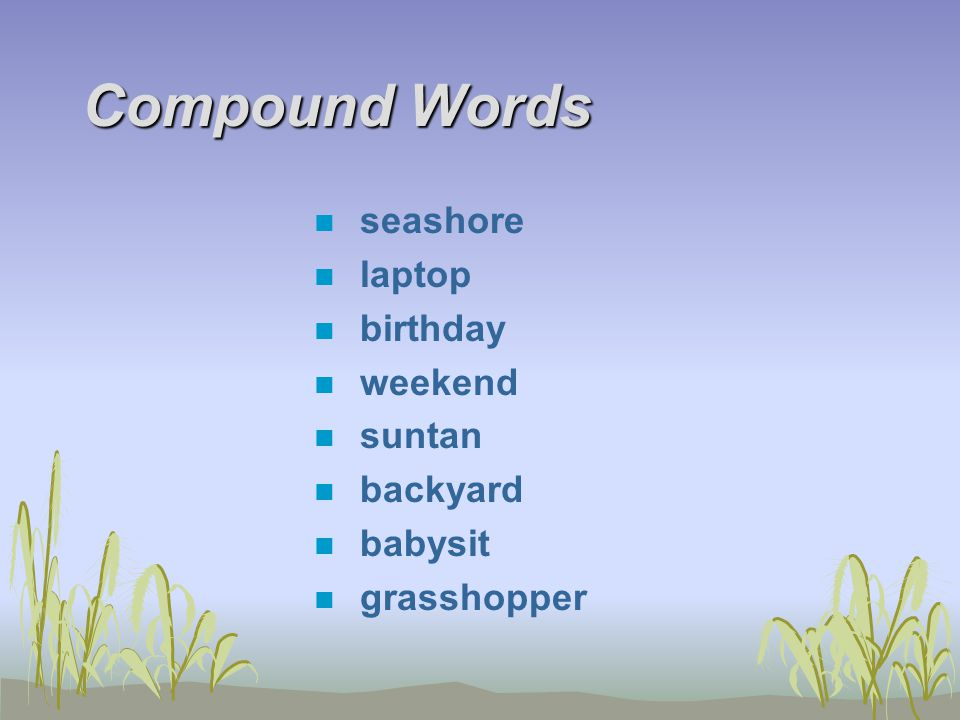 Compound Words n seashore n laptop n birthday n weekend n suntan n backyard n babysit n grasshopper