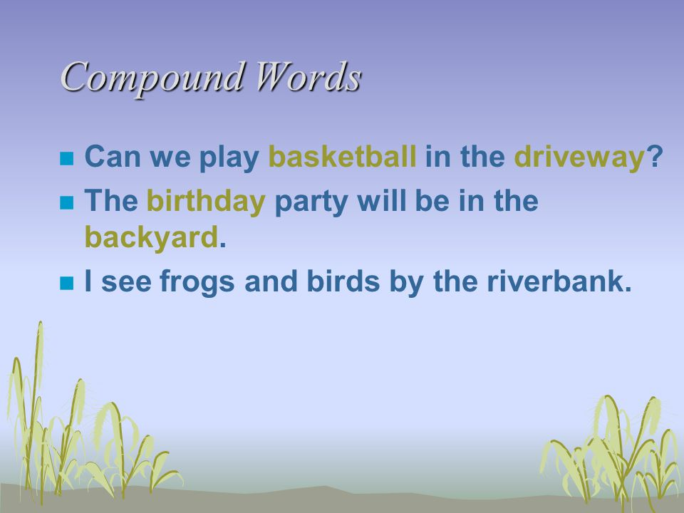 Compound Words n Can we play basketball in the driveway.