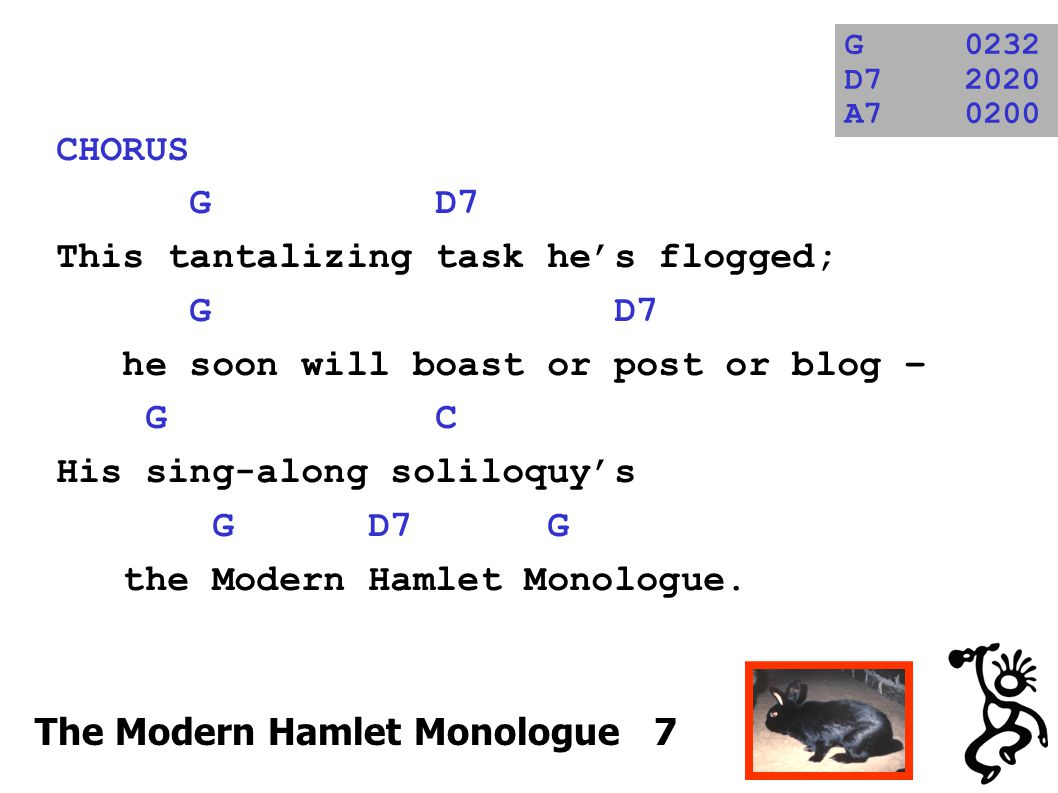 CHORUS G D7 This tantalizing task he's flogged; G D7 he soon will boast or post or blog – G C His sing-along soliloquy's G D7 G the Modern Hamlet Monologue.