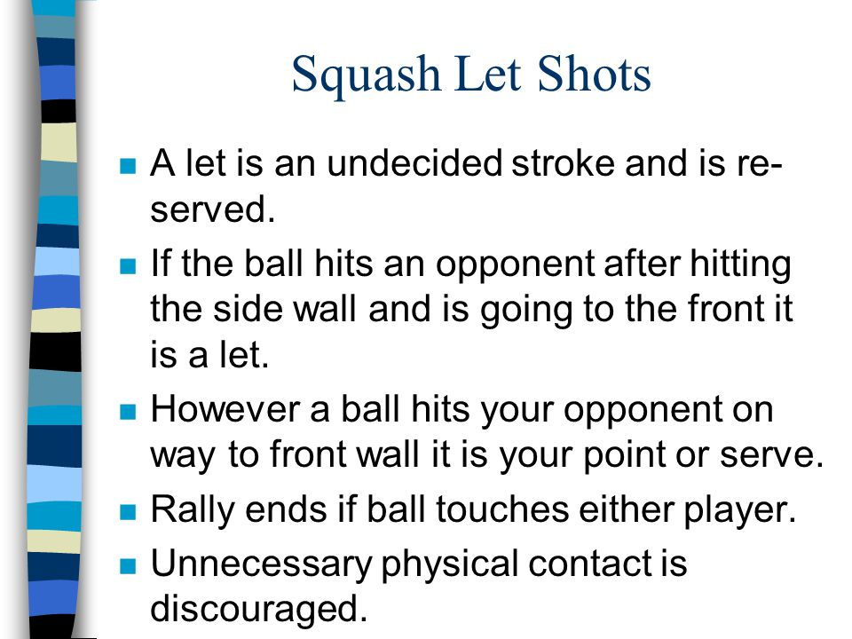Squash Let Shots n A let is an undecided stroke and is re- served.