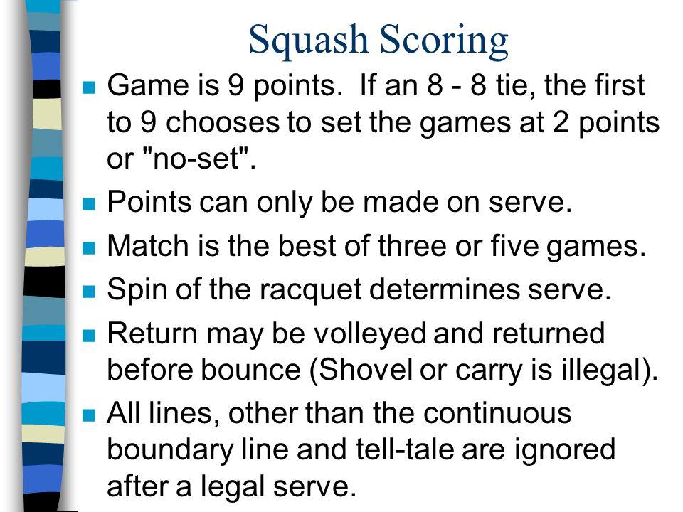 Squash Scoring n Game is 9 points.