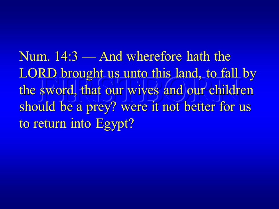 Num. 14:3 — And wherefore hath the LORD brought us unto this land, to fall by the sword, that our wives and our children should be a prey? were it not