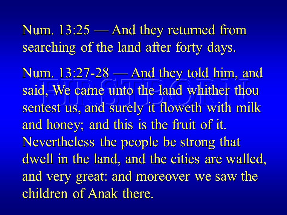 Num. 13:25 — And they returned from searching of the land after forty days.