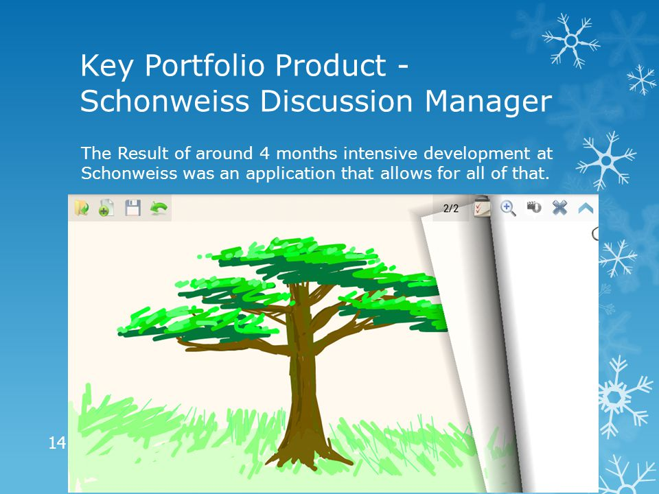 Key Portfolio Product - Schonweiss Discussion Manager The Result of around 4 months intensive development at Schonweiss was an application that allows for all of that.