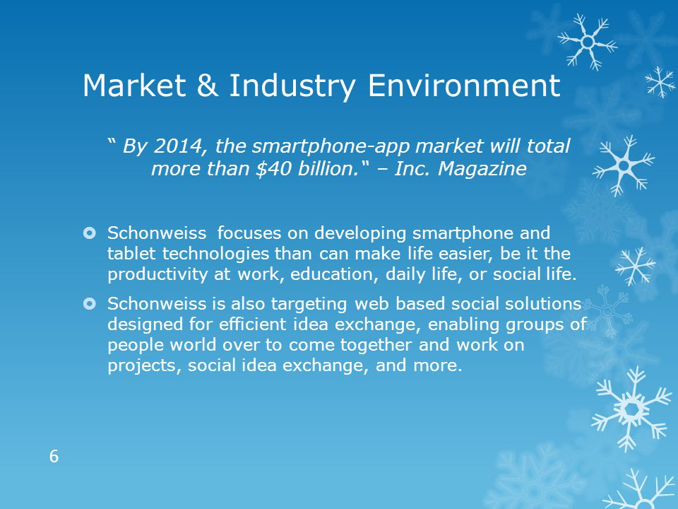 Market & Industry Environment By 2014, the smartphone-app market will total more than $40 billion. – Inc.