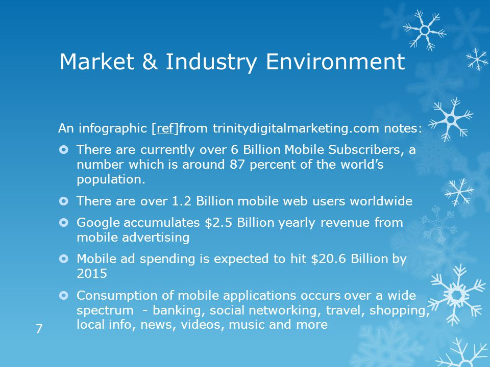 Market & Industry Environment An infographic [ref]from trinitydigitalmarketing.com notes:ref  There are currently over 6 Billion Mobile Subscribers, a number which is around 87 percent of the world's population.