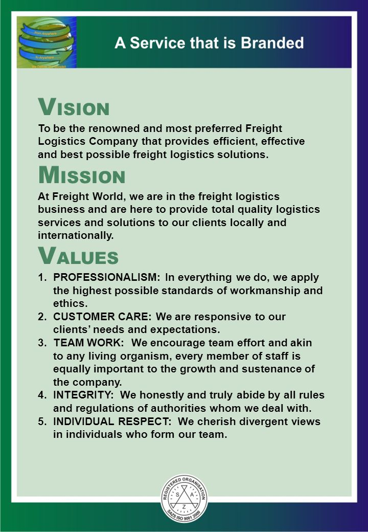 Goals To be the market leader in freight logistics locally and regionally To double our business every 5 years To reward our employees fairly To ensure a reasonable return for our shareholders