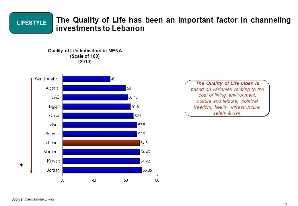 18 The Quality of Life has been an important factor in channeling investments to Lebanon Quality of Life Indicators in MENA (Scale of 100) (2010) Source: International Living The Quality of Life Index is based on variables relating to the cost of living, environment, culture and leisure, political freedom, health, infrastructure, safety & risk.
