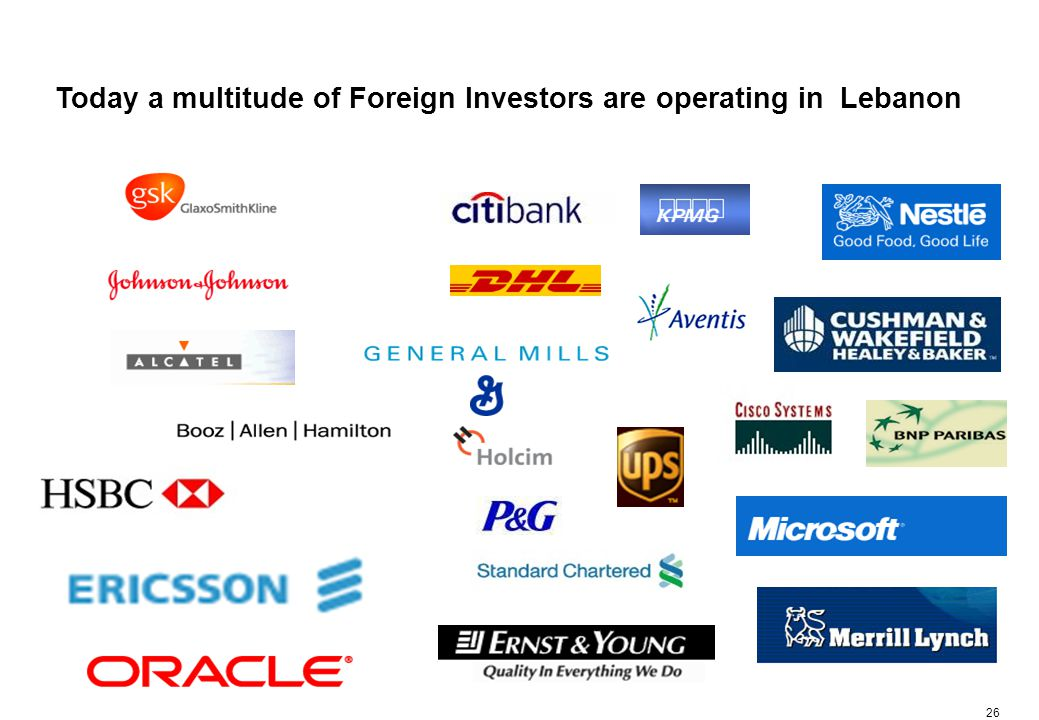 26 Today a multitude of Foreign Investors are operating in Lebanon