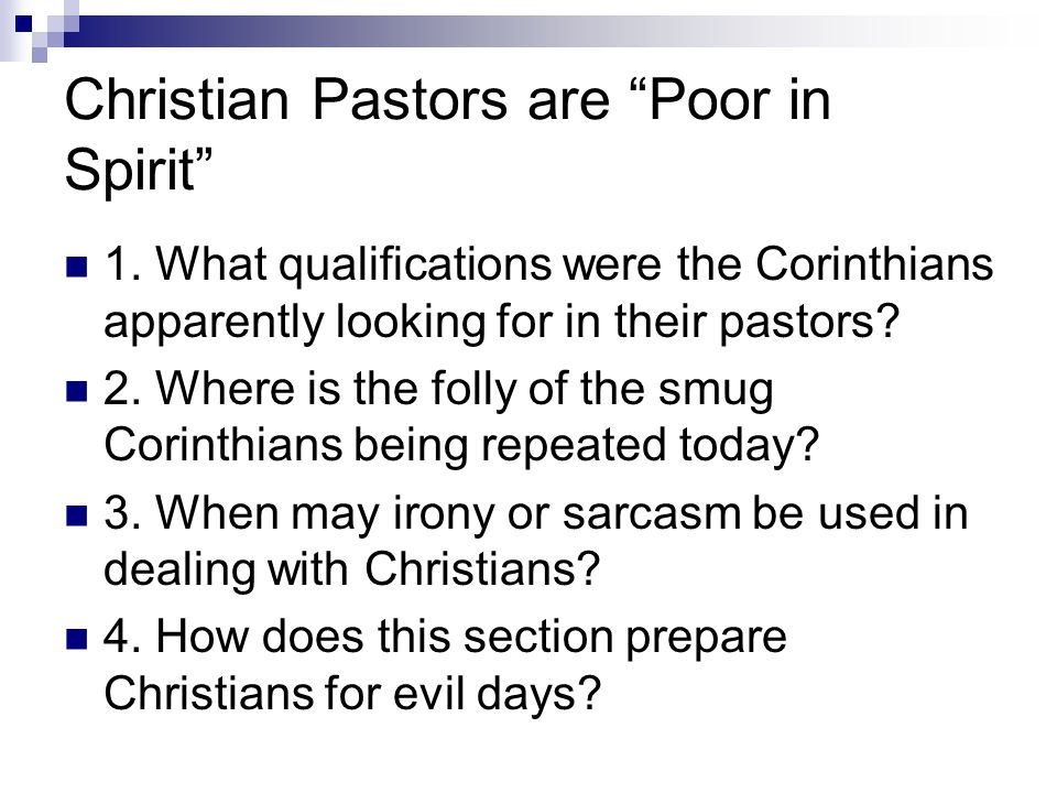 Christian Pastors are Poor in Spirit 1.