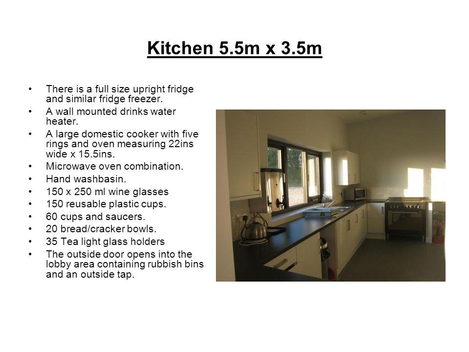 Kitchen 5.5m x 3.5m There is a full size upright fridge and similar fridge freezer.